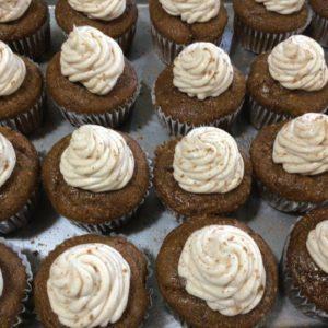 Half Dozen Applesauce and Pecan Cupcakes with Cream cheese Frosting
